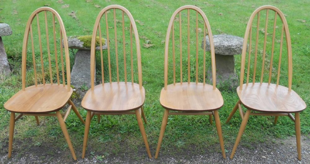 Set of Four Light Ercol Stickback Chairs